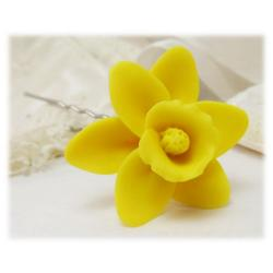 Yellow Daffodil Hair Pins