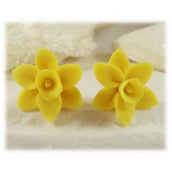 Yellow Daffodil Stud Earrings