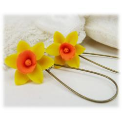 Yellow Orange Daffodil Drop Earrings