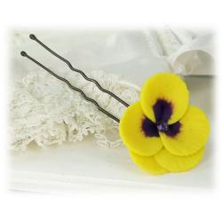Yellow Purple Crystal Pansy Hair Pins