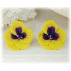 Yellow Purple Crystal Pansy Stud Earrings