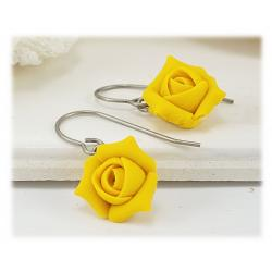Yellow Rosebud Drop Earrings
