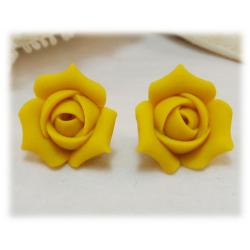 Yellow Rosebud Stud Earrings