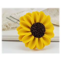 Yellow Mammoth Sunflower Hair Pins