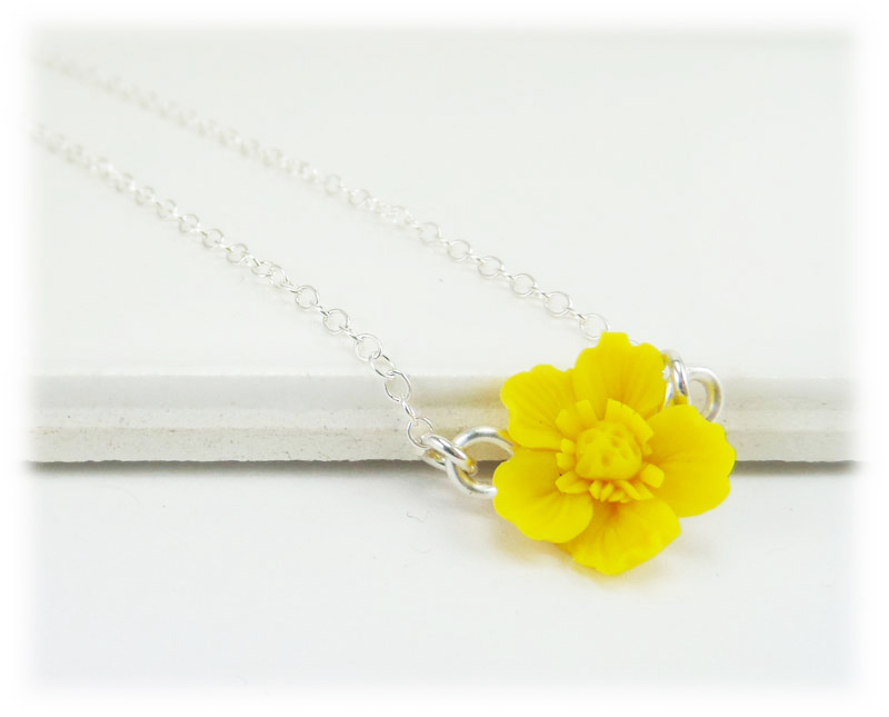 Tiny Buttercup Necklace Simple Flower Necklace