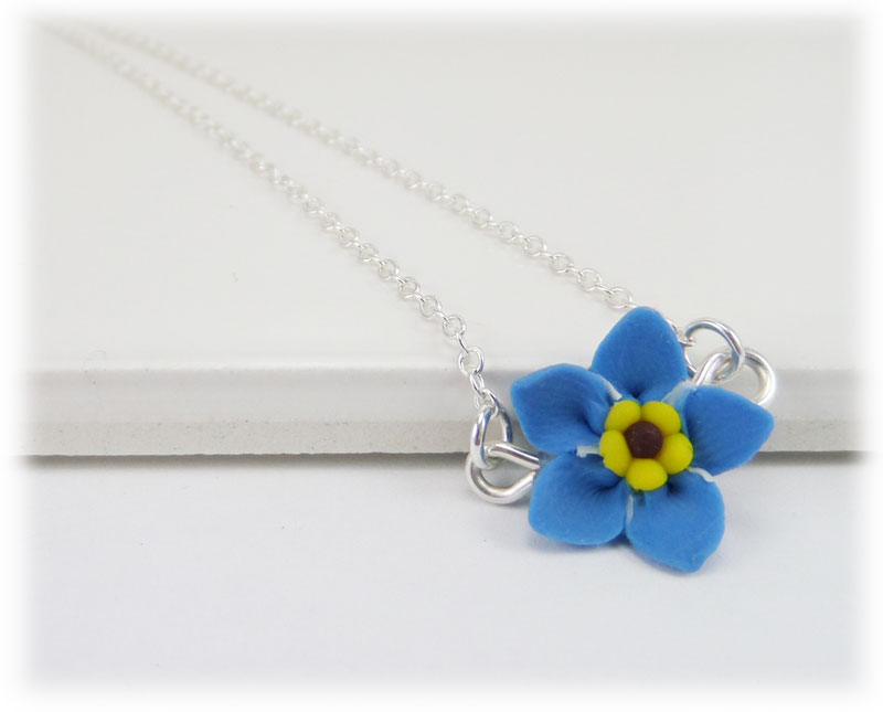 Tiny forget me not simple necklace aloadofball Image collections