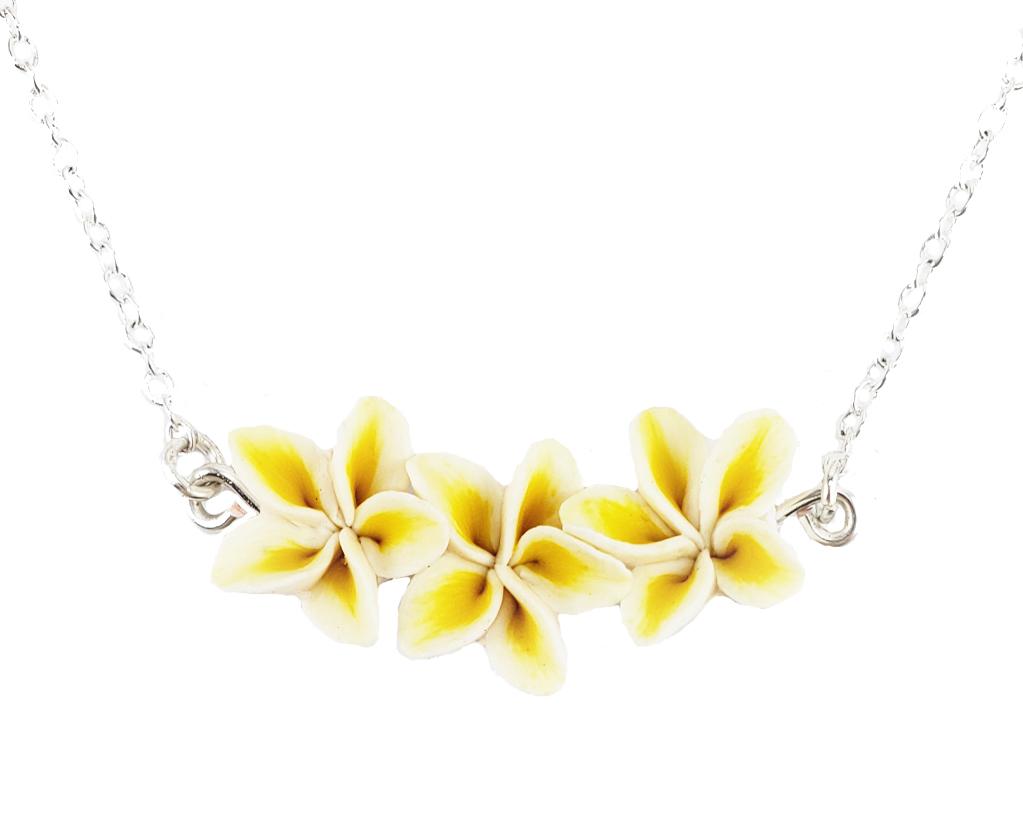 Tiny Tropical Plumeria Bar Necklace Plumeria Jewelry