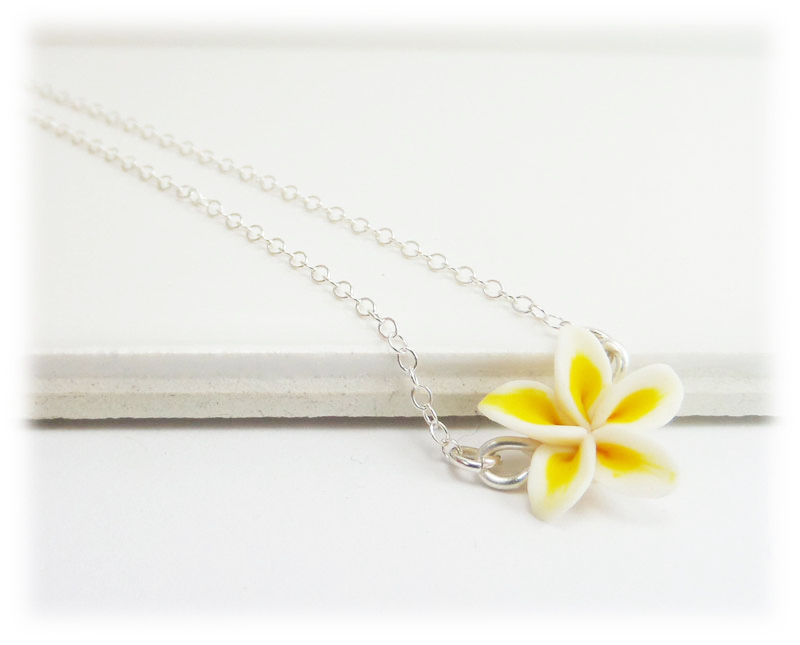 Tiny Plumeria Necklace Simple Flower Necklace Stranded Treasures