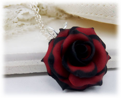 Tipped Rose Necklace Variegated Rose Necklace