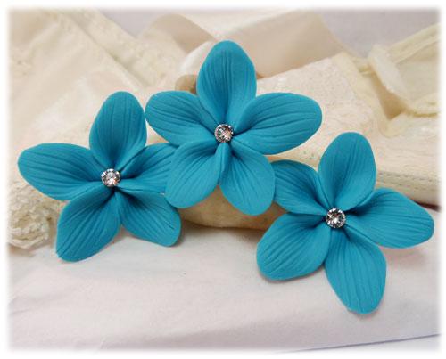 Turquoise Hair Flowers | Aqua Flower Wedding Hair Pins