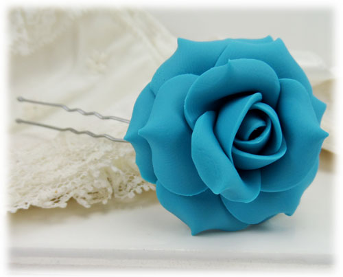 Turquoise Rose Hair Pins Turquoise Rose Hair Clips