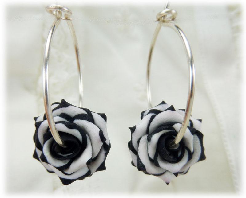 Variegated Rose Hoop Earrings
