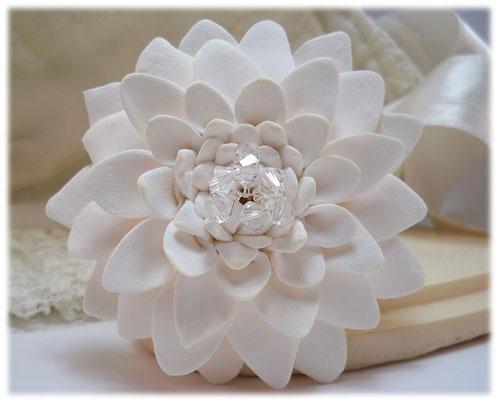0208c728aa5 Large White Chrysanthemum Brooch   Large White Flower Lapel - Stranded  Treasures