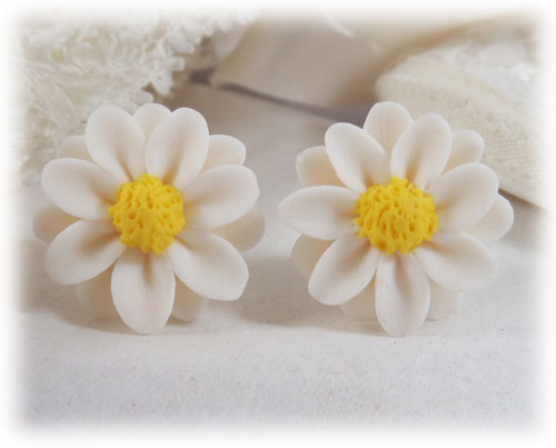 pink earrings with daisy dp amazon flower lovely cute com stud pearl