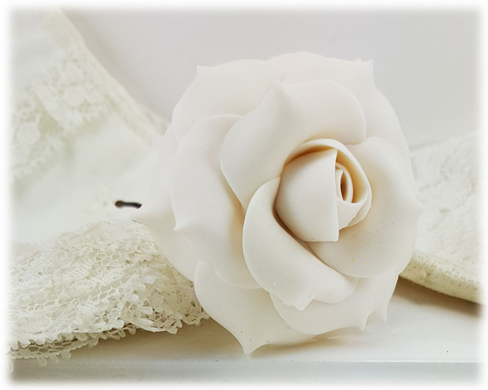 White Ivory Rose Hair Pins White Ivory Rose Hair Clips