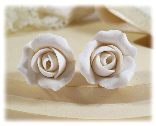 White Ivory Rosebud Stud Earrings