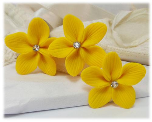 Yellow hair flowers yellow flower wedding hair pins yellow flower hair pins mightylinksfo