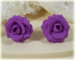 Purple Amethyst Rose Stud Earrings