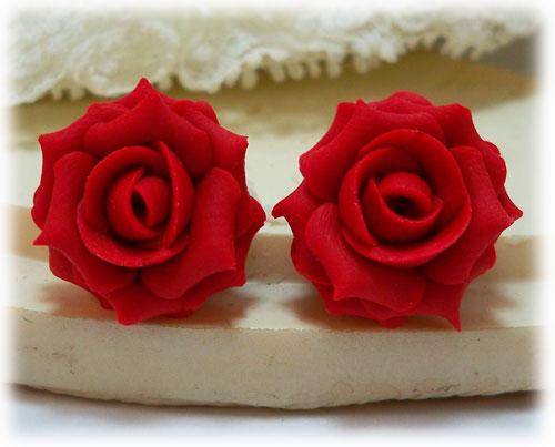 Red Rose Earrings Red Apple Rose Stud Earrings