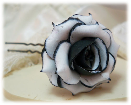 Black-tipped Rose Hair Pins