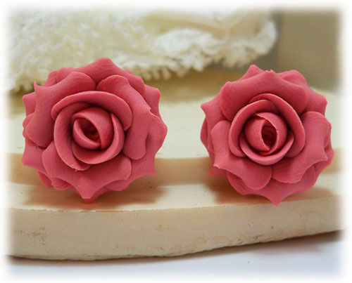 Pink Blush Rose Stud Earrings