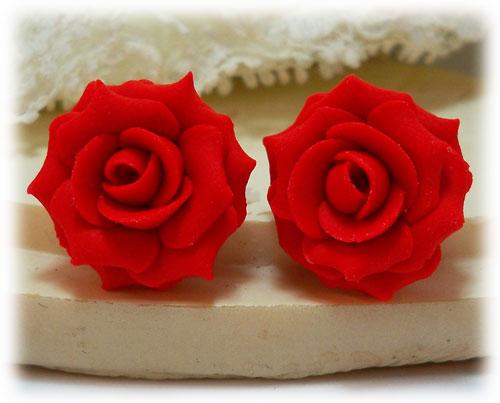 Red Rose Earrings Red Coral Rose Stud Earrings