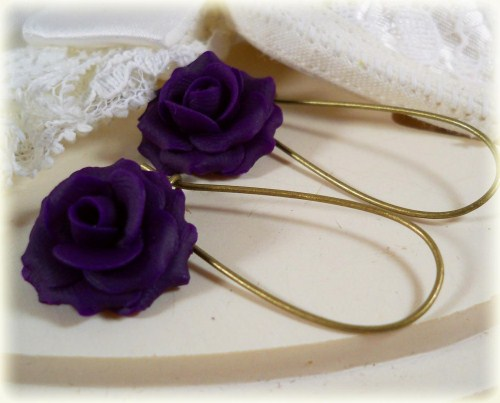 Purple Eggplant Rose Drop Earrings