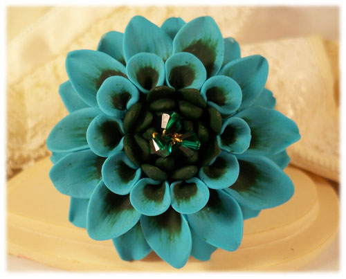 Turquoise Emerald Dahlia Brooch Pin