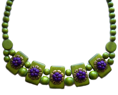 Green Purple Chunky Necklace