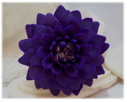 Large Purple Dahlia Brooch Pin