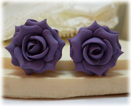 Purple Lavender Rose Stud Earrings