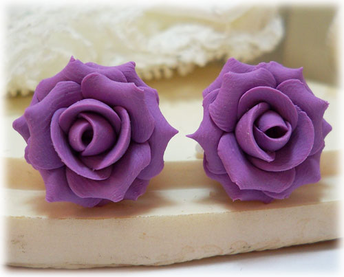 Purple Lilac Rose Stud Earrings