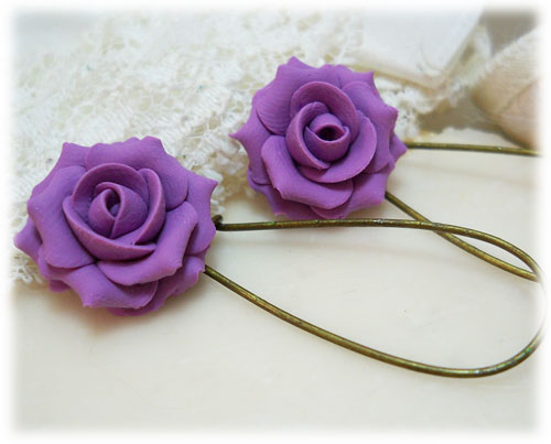 Purple Lilac Rose Drop Earrings