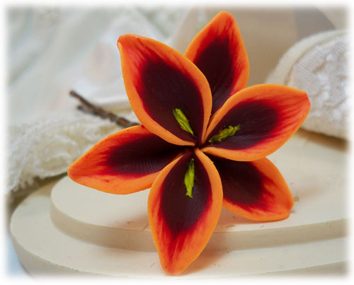 Orange Red Lily Hair Pins