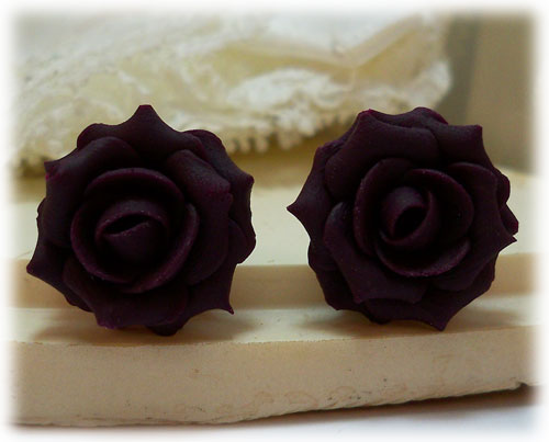 Purple Plum Rose Stud Earrings