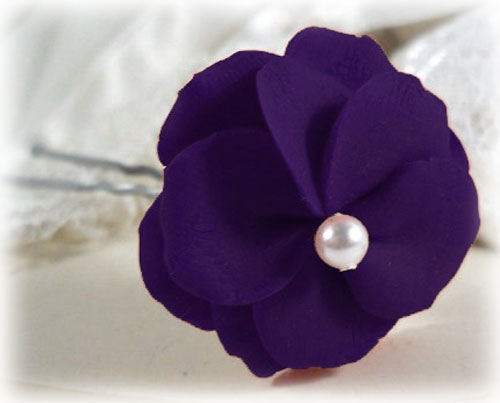 Purple Pearl Flower Hair Pins