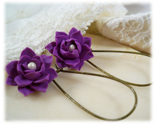 Purple Lotus Pearl Drop Earrings