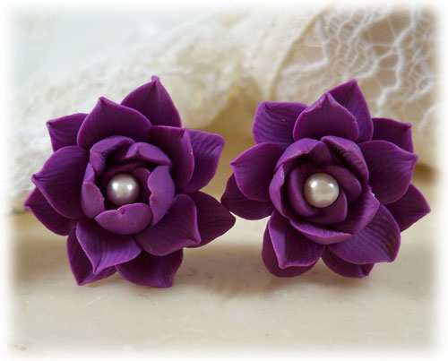 Purple Lotus Pearl Stud Earrings