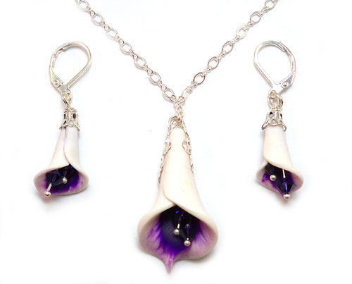 Purple Picasso Calla Lily Necklace or Set