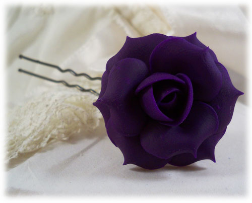 Purple Rose Hair Pins