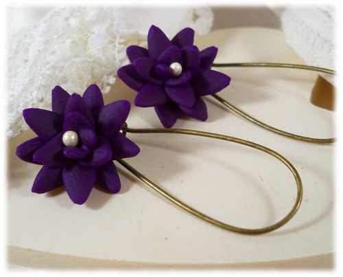 Purple Succulent Drop Earrings