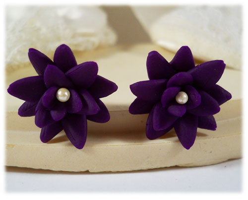 Purple Succulent Stud Earrings
