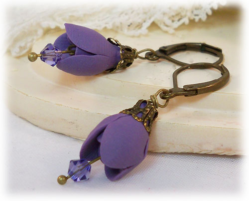 Purple Tulip Earrings