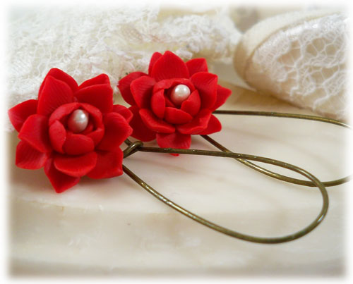 Red Lotus Pearl Drop Earrings