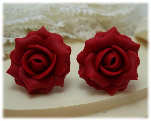 Red Rose Earrings Red Ruby Rose Stud Earrings