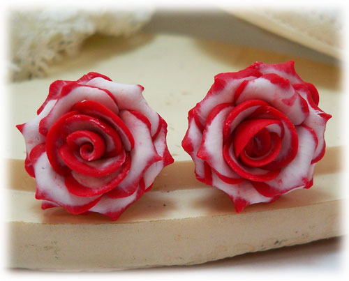 Double Delight  Rose Earrings Studs