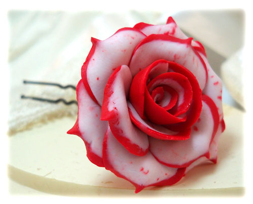 White Garden Rose Hair double delight rose hair pins & hair clips