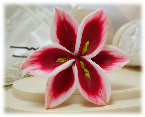 White Red Lily Hair Pins