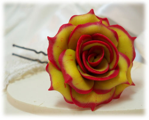 Fire-tipped Rose Hair Pins