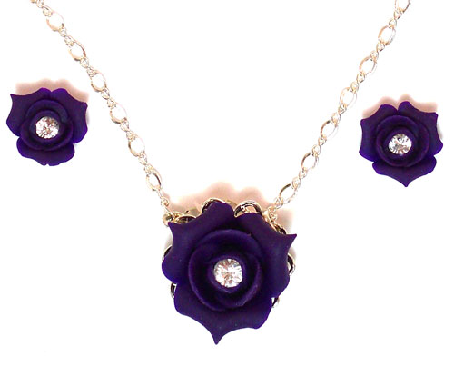 Rosebud Crystal Necklace or Set